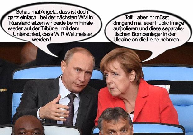 Merkel und Putin beim Fussball WM Finale in Brasilien auf derEhrentribüne
