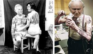 J.P. nach einer Tätowierorgie mit weiblicher Begleitung, rechts im Bild stark gealtert und cracksüchtig?